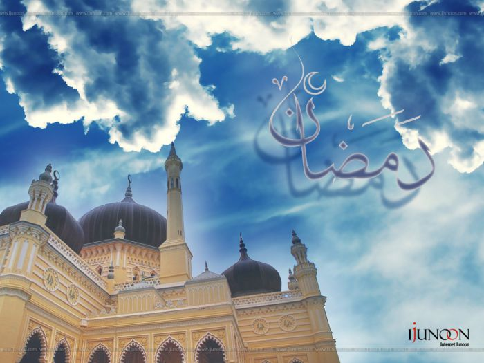 Ramadan Wallpaper with Clouds and Masjid